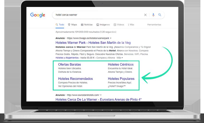 pantalla extensiones google ads
