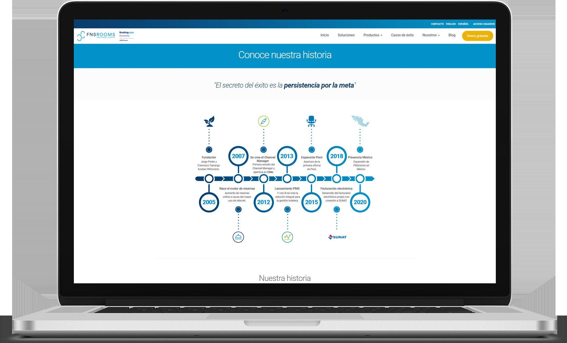pantalla web con infografia