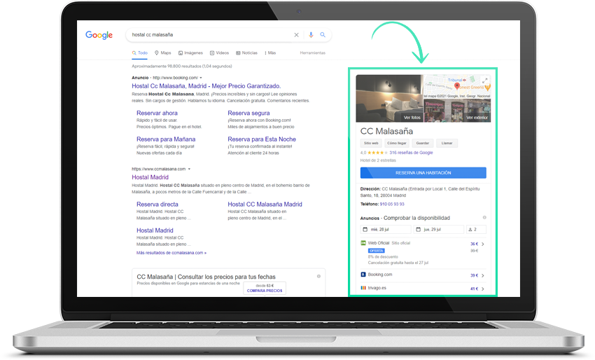 Imagen pantalla Google Hotel Ads